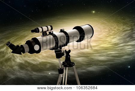 telescope pointed at a nebulae
