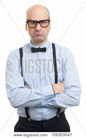 Serious Man With Suspenders And Bow-tie