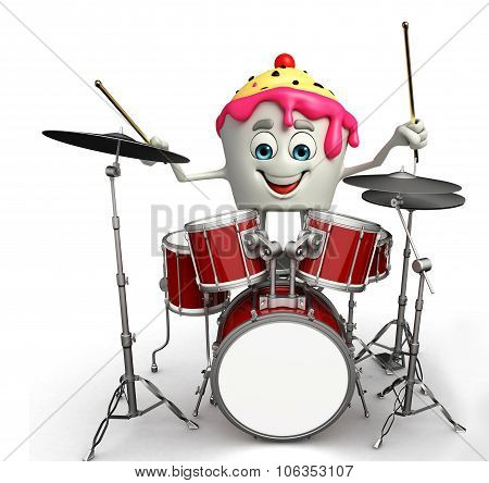 Ice Cream Character With Drum Set
