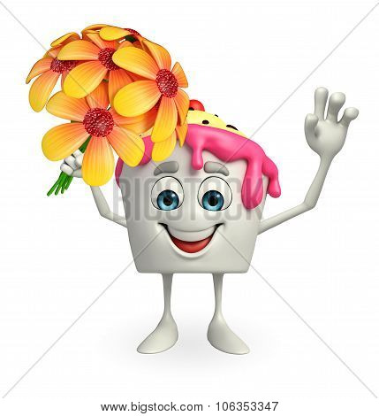 Ice Cream Character With Flower