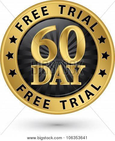 60 Day Free Trial Golden Label, Vector Illustration