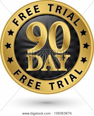 90 Day Free Trial Golden Label, Vector Illustration