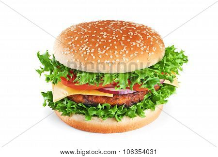 Hamburger Isolated On White Background.