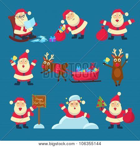 Santa, Deer. Christmas and New Year