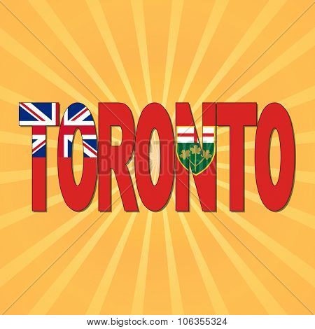 Toronto flag text with sunburst illustration