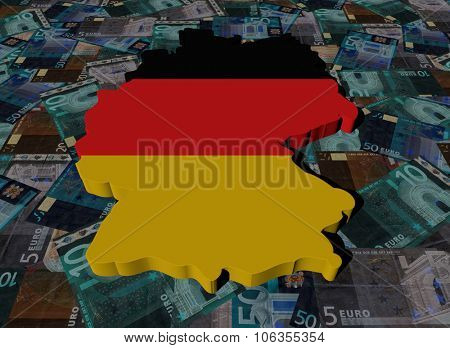 Germany Map flag on Euros illustration