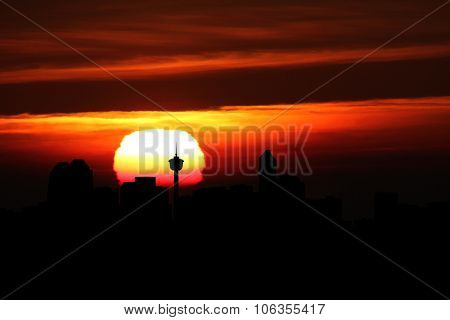 Calgary skyline at sunset illustration