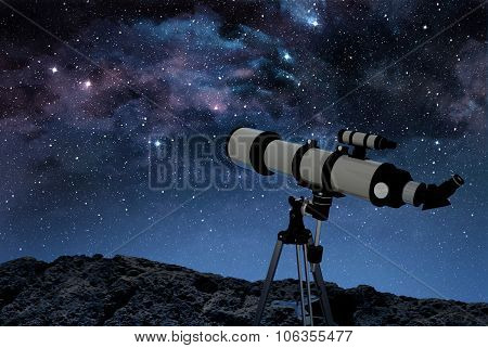 telescope on rocky ground