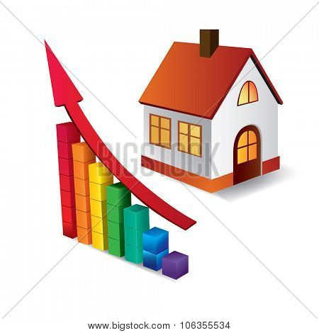 Chart of growth of real estate market, or building. conceptual vector images.