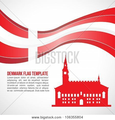 Denmark flag wave and Denmark City Hall