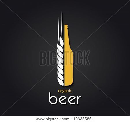 Creative Design  With Beer Bottle And Barley. Organic Beer. Vector Illustration