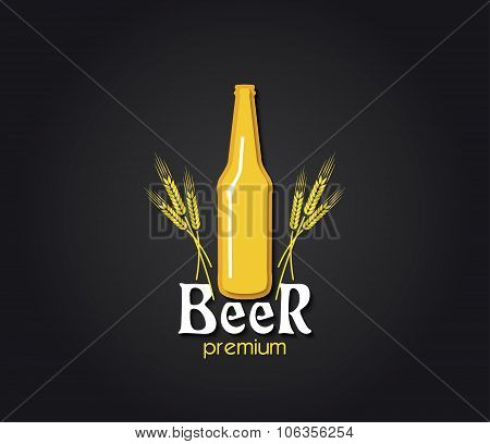 Creative Design  With Beer Bottle And Barley