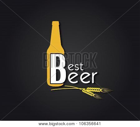 Creative Design  Beer Bottle With Text And Barley