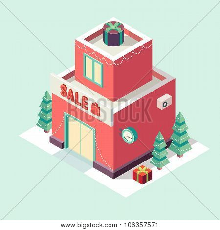 Flat 3d isometric Christmas store New year sale