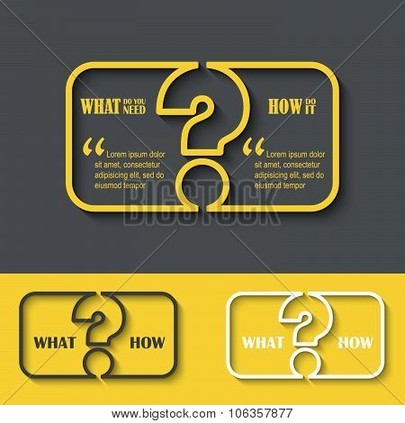 Question Mark Icon With Paper Frame For Your Text. Faq Sign. Creative Vector Illustration.