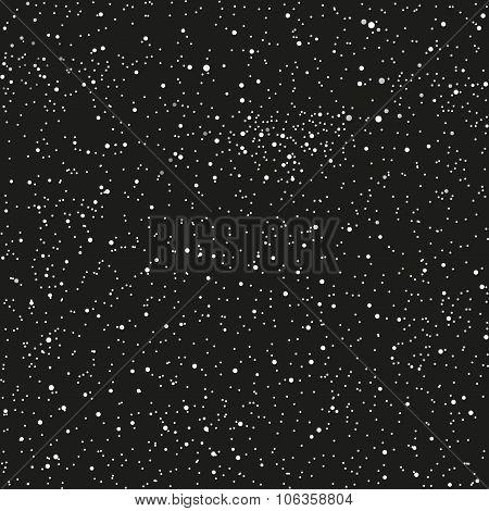 Vector background. Starry night sky. Stars, sky, night. The falling snow.