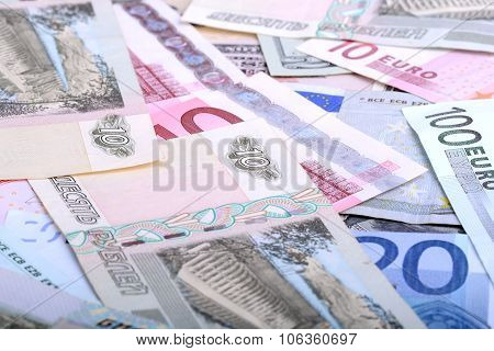 Heap From Dollars, The Russian Rubles And Euro