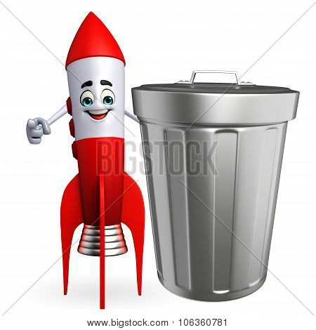 Rocket Character With Dustbin