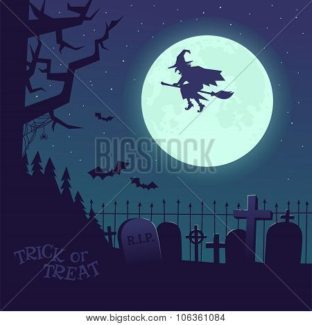 Poster Halloween witch on a broomstick.