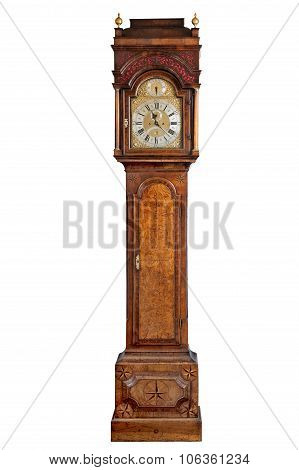 Tall Longcase Grandfather Clock Walnut Wood