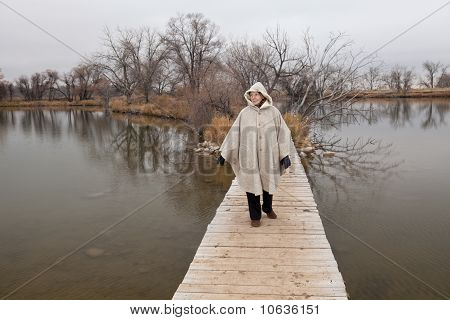 Senior Woman Enjoys A Walk Alone