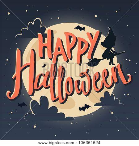 Happy Halloween. Poster in cartoon-style.