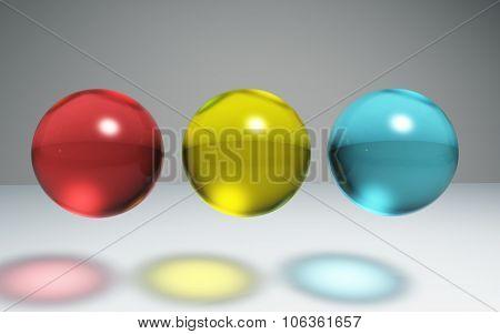 Geometric Crystal Ball Red Yellow Blue