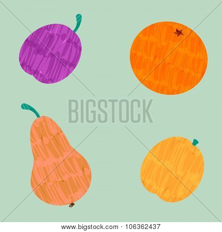 Colorful Vector Felt Tip Marker Pen Drawn Orange, Pear, Plum And Apricot Fruit Set