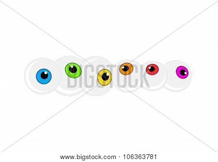 Halloween Eyeball Vector Background. Colorful Cartoon Pupil, Eye Illustration On White Background.
