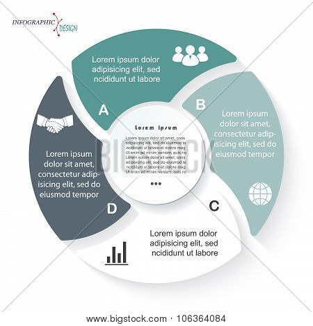 Circle Infographic For Business Project Or Presentation With Four Segments