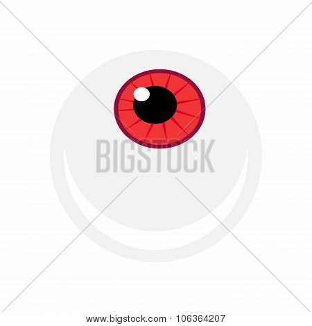 Halloween Eyeball Vector Symbol. Red Eye Illustration Isolated On White Background.