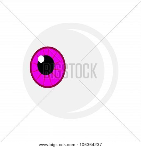 Halloween Eyeball Vector Symbol. Purple Pupil Eye Illustration Isolated On White Background.