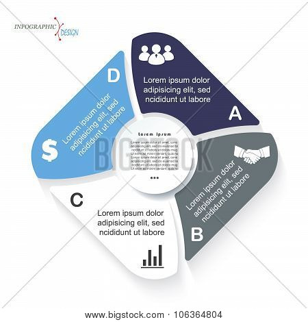 Infographic Business  Template For  Project Or Presentation With Four Segments