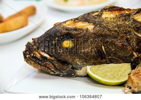 Grouper Baked In The Oven At The Banquet Table