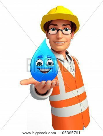 Young Worker With Water Drop