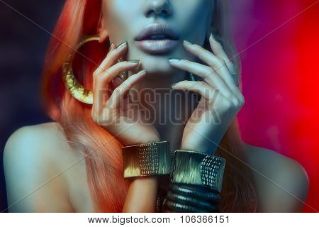 Glamor Art Women Portrait With Golden Make-up, And Golden Manicure. Makeup, Beauty