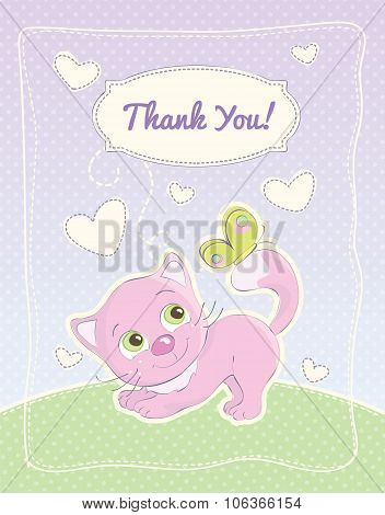Thank You card with a cute little kitten illustration