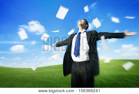Businessman Arms Outstretched Getaway Freedom Flying Paper Concept