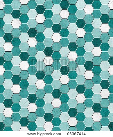 Teal, Black And White Hexagon Mosaic Abstract Geometric Design Tile Pattern Repeat Background