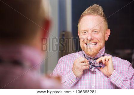 Man Tying Bow-tie