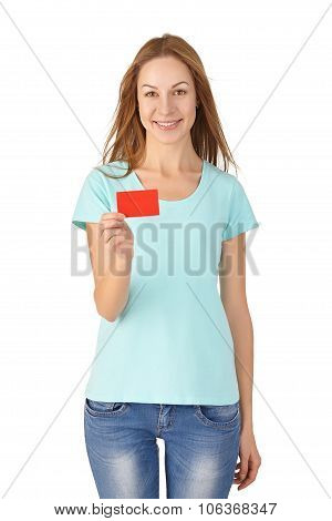 Young girl smiling and holding a card. White background