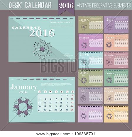 Desk Calendar 2016. Vector Print Template with abstract pattern. Set of 12 Months. Week Starts Monda
