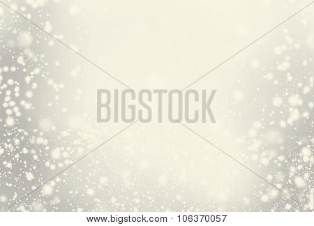 Abstract Sparkling Merry Christmas Toned Card With White And Silver Lights. Festive Background With