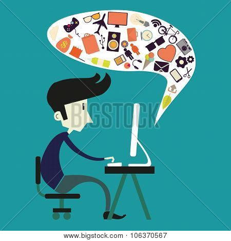 Vector Boy Sitting At Computer In Flat Style