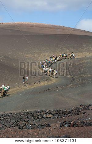 LANZAROTE, SPAIN - SEPTEMBER 9, 2015:Timanfaya National Park in Lanzarote Canary Islands Spain