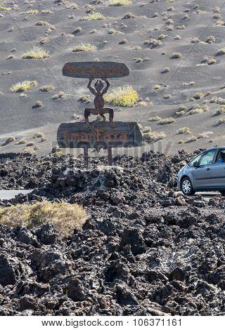 LANZAROTE, SPAIN - SEPTEMBER 9, 2015: Timanfaya National Park in Lanzarote Canary Islands Spain