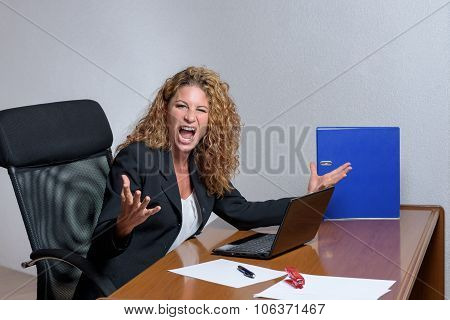Angry Stylish Young Businesswoman With A Sour Expression