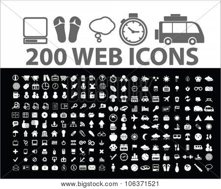 200 web, website, internet, online, business, technology icons, signs set for infographics