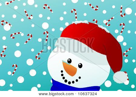 Smiling Snowman With Falling Candy Canes