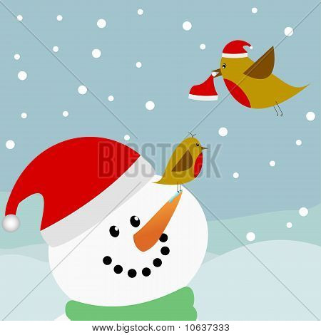 Birds And Snowman With Santa Hats